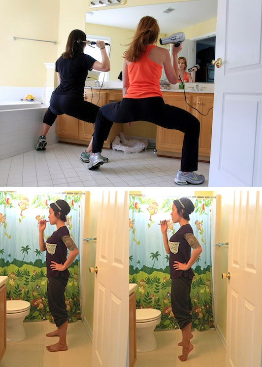 9.-Do-squat-holds-and-calf-raises-while-getting-ready.-11-Sneaky-Ways-To-Burn-More-Calories-Every-Day