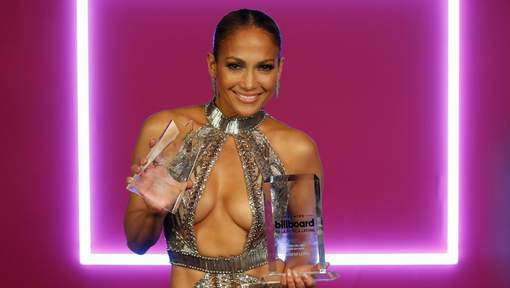 Singer Jennifer Lopez appears back stage with her awards at the Latin Billboard Awards, Thursday, April 27, 2017 in Coral Gables, Fla. (AP Photo/Wilfredo Lee)